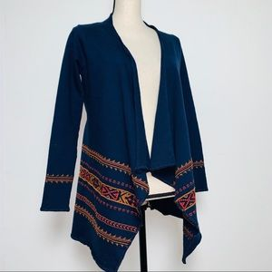 Lucky Navy Embroidered Open Front Drapey Cardigan